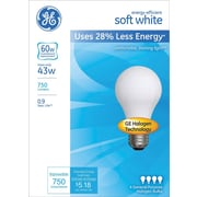 GE® Energy-Efficient A19 Lightbulb, 43 Watt (60 Watt Equivalent) Soft White (66247)