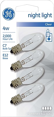 4 Watt GE® Nightlight Clear C7 Lightbulb, White