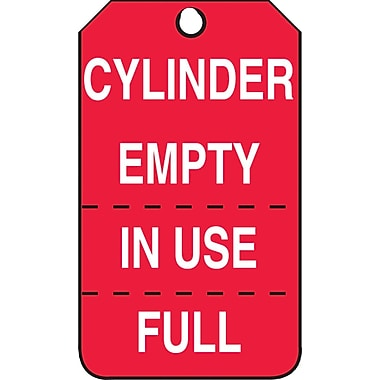Accuform Signs® Cylinder Empty/In Use/Full Tag, Perforated on Both Sides, 25/Pack