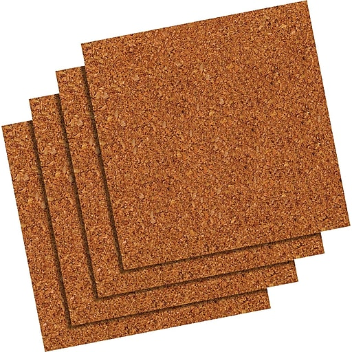 Quartet 12 X Natural Cork Tiles Frameless Modular 4 Pack 102 Staples