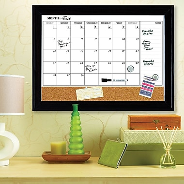 Quartet® Magnetic Combination Calendar Board, Dry-Erase & Cork, 1-Month Design, Espresso Frame, 17
