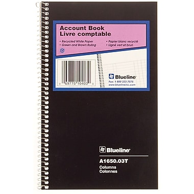 Blueline® Account Book, 3 columns, 80 Pages, 8