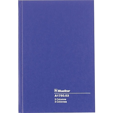 Blueline® Account Book, 3 columns, 100 Pages, 8 - 1/4
