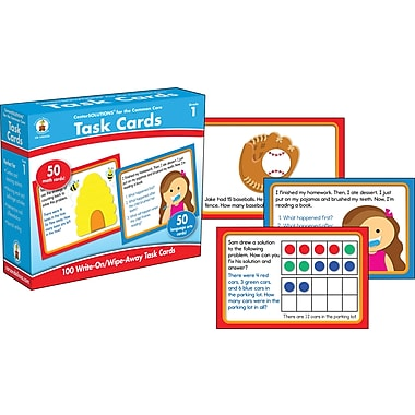 Carson-Dellosa CenterSolutions Write-On/Wipe-Away Task Cards Learning Cards, Grade 1 (140333)