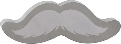 "Post-it® Die-Cut Memo Cube, 3"" x 3"", Gray, Mustache-Shaped, 2 Pads/Pack (2050-DM-MSTC)"