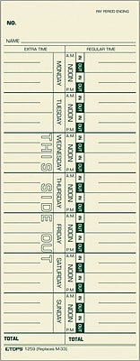 TOPS® Weekly Time Cards - Numbered Days, 9
