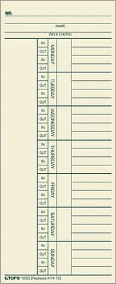 """""""""""TOPS Weekly Time Cards - Numbered Days, 8 1/4"""""""""""""""" x 3 3/8"""""""""""""""", 1/Ea"""""""""""" 377678"""