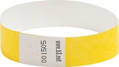 Baumgartens Security Wrist Band, Tear-Resistant, Yellow, 3/4