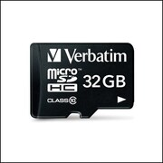 Verbatim® – Carte mémoire microSDHC (classe 10)  32 Go avec adaptateur