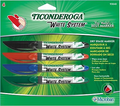 Dixon Ticonderoga Fine Point Dry-Erase Marker, Assorted, 4/Pack
