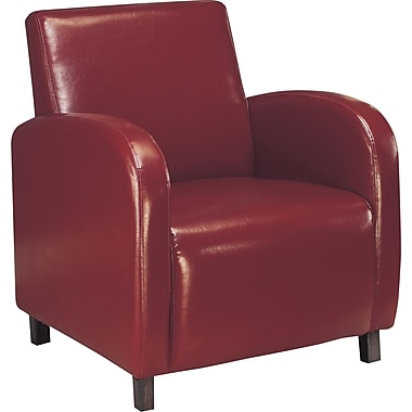 Monarch Leather-Look Accent Chair With Arms, Burgundy