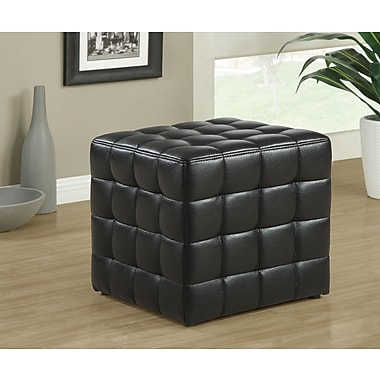 Monarch Leather-Look Ottoman, Black