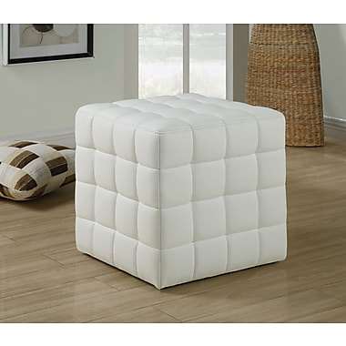 Monarch Leather-Look Ottoman, White