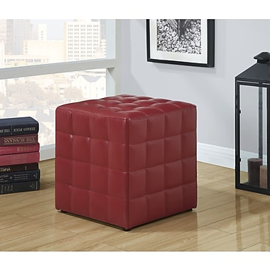 Monarch Leather-Look Ottoman, Red
