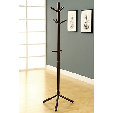 Monarch Contemporary Solid Wood Coat Rack, Cappuccino