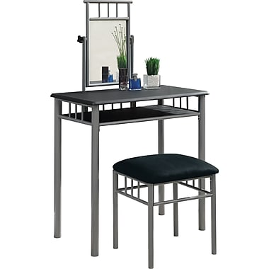 Monarch Metal 2-Piece Vanity Set, Black / Silver