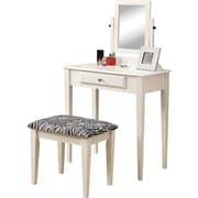 Monarch – Ensemble de table de toilette 2 pièces, avec tabouret à motif zèbre, blanc