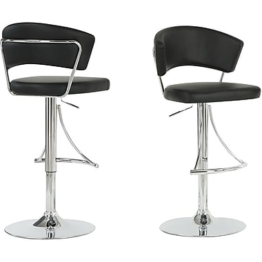 Monarch Metal Hydraulic Lift Barstool, Black / Chrome