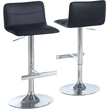 Monarch Metal Hydraulic Lift Barstool, Sling-shaped Seat, Black / Chrome, 2/Pack