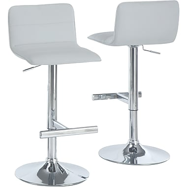 Monarch Metal Hydraulic Lift Barstool, Sling-shaped Seat, White / Chrome, 2/Pack