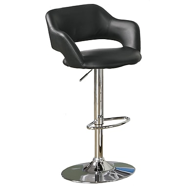 Monarch Metal Hydraulic Lift Barstool, Plush Curve Back, Black / Chrome