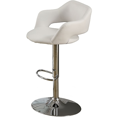 Monarch Metal Hydraulic Lift Barstool, Plush Curve Back, White / Chrome