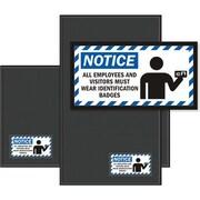 "M + A Matting Waterhog™ Sign Mat - ""ID BADGES"", Black, 3' x 5', Horizontal, Cleated (1520461)"