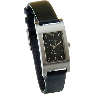 Cardinal Ladies Analog All Steel Case with Black Leather Strap Watch