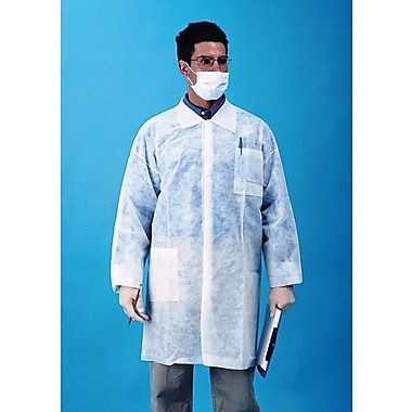 Keystone Disposable Polypropylene Snap-Front Lab Coats with Three Pockets and Open Wrists, White, 30 g, XL, 30/Case