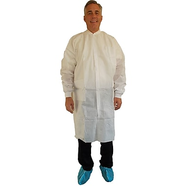 Keystone Disposable SMS Snap-Front Lab Coat with Three Pockets and Elastic Wrists, White, 40 g, Medium, 30/Case