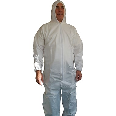 Keystone Disposable Keyguard Coveralls with Attached Hood, Elastic Wrists and Ankles, White, Large, 25/Case