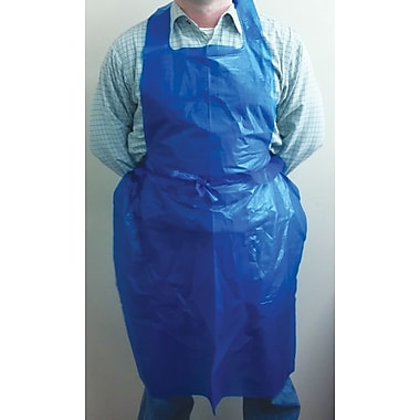 Keystone Disposable Polyethylene Aprons, Blue, 28