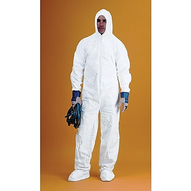 Keystone Disposable Keyguard Coveralls with Attached Hood and Boots, Elastic Wrists and Ankles, White, 2XL, 25/Case