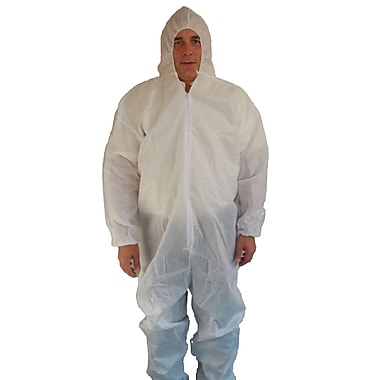 Keystone Disposable SMS Coverall with Attached Elastic Hood, Back and Wrists, White, 55 g, Medium, 25/Case