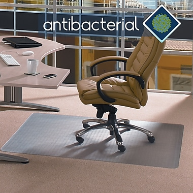Floortex™ AntiBacterial Chairmats, Carpet, Rectangle