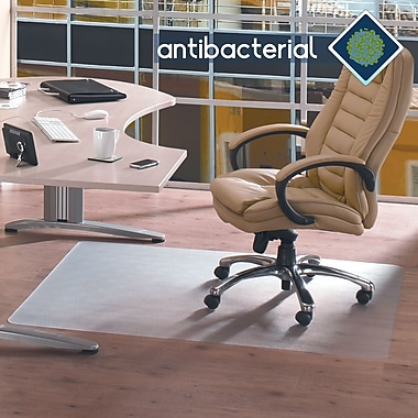 Floortex™ AntiBacterial Chairmat, Hardfloors, Rectangle, 36