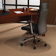 """Floortex Polycarbonate Contour Shape Workstation Chairmat, Rectangle with Lip, 39"""" x 49"""" Medium Pile Carpet"""