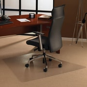 "Floortex™ Polycarbonate Workstation Trapezoid Shape Chairmat, 46"" x 60"" Medium Pile Carpet"
