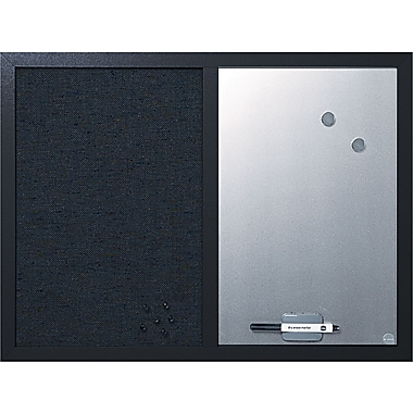 MasterVision® Combo Fabric/Dry Erase Board, Black Frame, 24