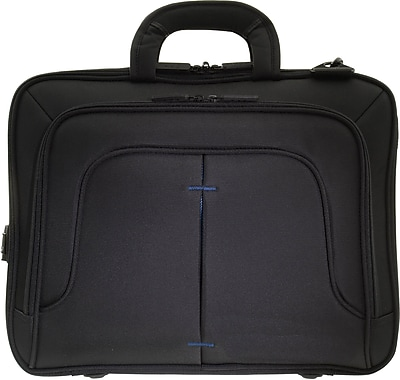 """ECO STYLE 16.1""""Tech Pro TopLoad Checkpoint Friendly Case w/Dedicated tablet Compartment, Black/Blue, 13 3/4""""H x 16 3/4""""W x 3""""D"""
