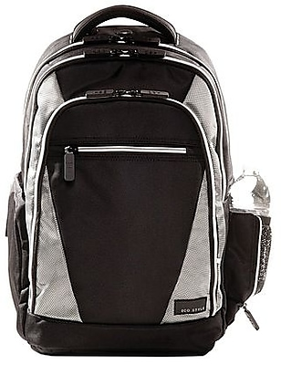 "ECO STYLE 16.4"" Sports Voyage Backpack, Black/Platinum, 19""H x 14 1/4""W x 6 3/4""D"