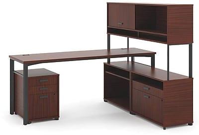 HON Manage L-Workstation, Desk, 2 File Centers, Pedestal, Overhead, Chestnut Laminate, Ash Finish NEXT2018 NEXTExpress