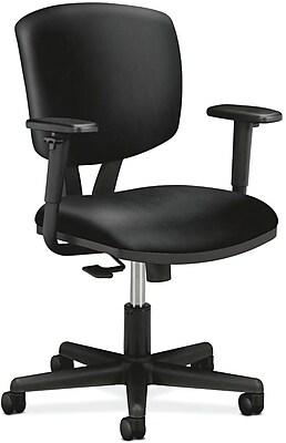 HON Volt Task Chair, Synchro-Tilt, Adjustable Arms, Black SofThread Leather NEXT2018 NEXTExpress