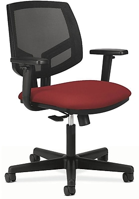 HON Volt Mid-Back Task Chair w/ Arms, Mesh Back w/ Fabric Seat, Crimson, Seat: 19 1/4