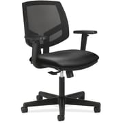 """HON Volt® Mid-Back Task Chair with Arms, Mesh Back with Leather Seat, Black, Seat: 19 1/4""""W x 28""""D, Back: 18""""W x 18 3/4""""H"""