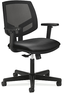 HON Volt® Mid-Back Task Chair with Arms, Mesh Back with Leather Seat, Black, Seat: 19 1/4