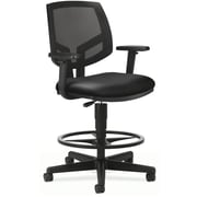 "HON Volt® Mid-Back Task Stool, Mesh Back with Leather Seat, Black, Seat: 27""W x 28""D, Back: 18""W x 18 1/2""H"