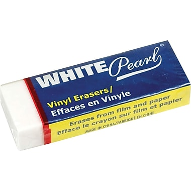 Dixon® White Pearl Vinyl Erasers, Large Size, 12/Pack