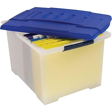 Storex® Portable File Crate, Letter-Size, Clear