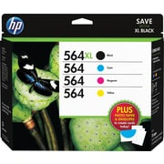 HP 564XL/564 High-Yield Black & Standard C/M/Y Color Ink Cartridges w/Media Value Kit (D8J67FN#140), Combo 4-Pack